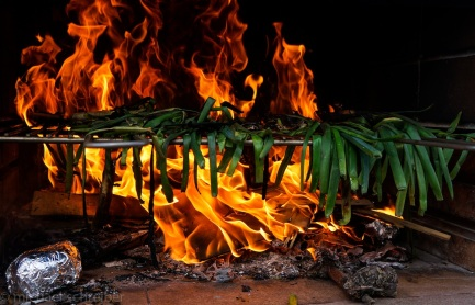 traditional catalan food: special onion grilled in fire